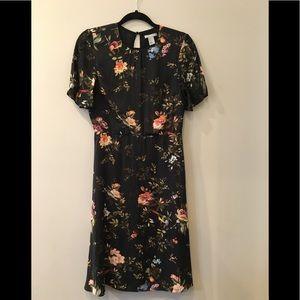 H&M Dark Floral Dress Size 4